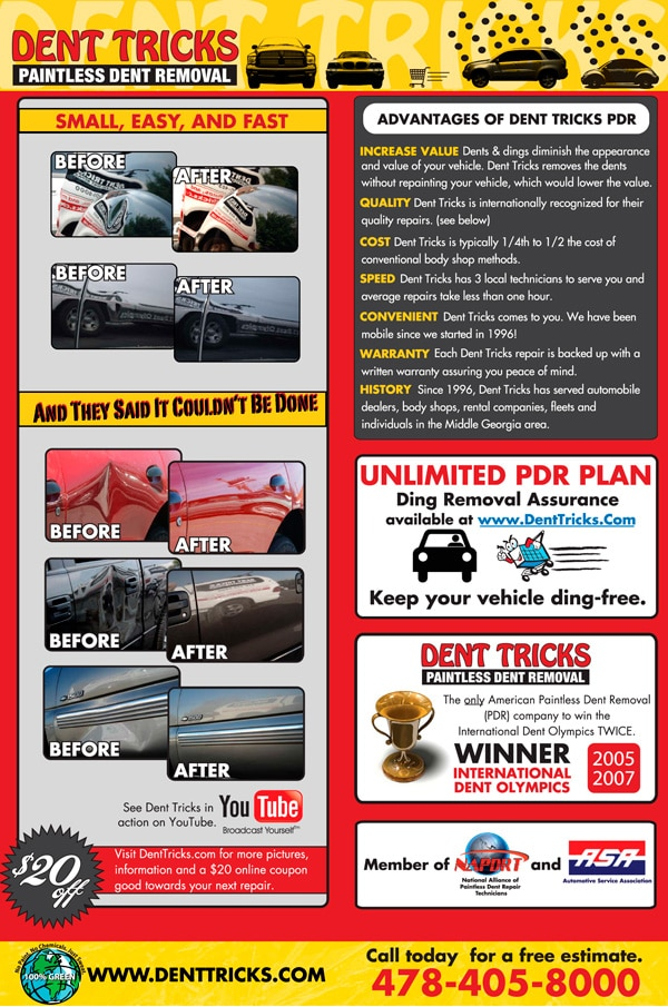 Cars For Less >> Dent Tricks Paintless Dent Removal Poster - Larry Najera ...